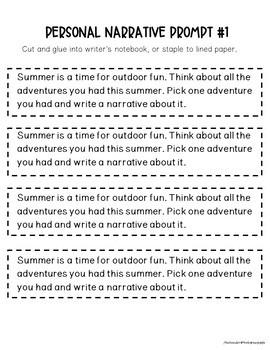 Personal Narrative Writing Activities