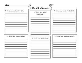 Personal Narrative Graphic Organizer- Life Moments