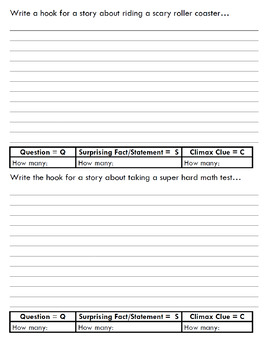 Personal Narrative Hook Practice Pack