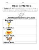 Personal Narrative Hook Sentence Organizer