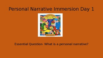 Personal Narrative Immersion Lessons 1-5 Writing Fundamentals Compatible
