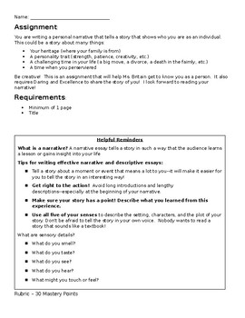 Personal Narrative Instructions and Rubric