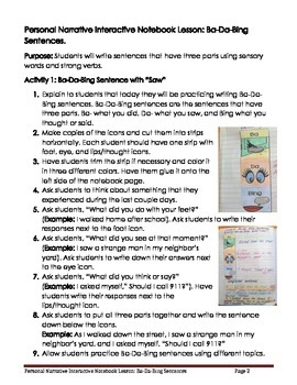 Personal Narrative Interactive Notebook Lesson: Ba-Da-Bing Sentences