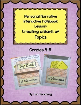 Personal Narrative Interactive Notebook Lesson: Creating a Bank of Topics
