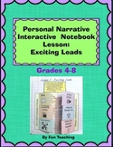 Personal Narrative Interactive Notebook Lesson: Exciting Leads
