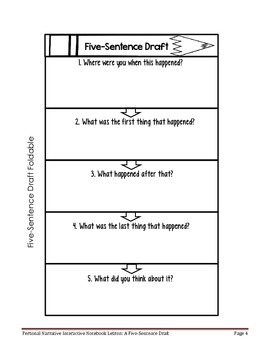 Personal Narrative Interactive Notebook Lesson: Five-Sentence Draft