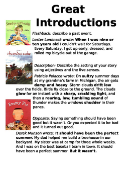 Personal Narrative Introductions