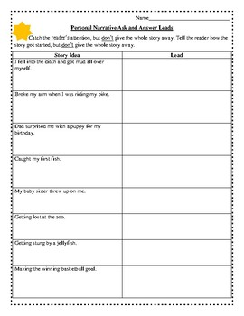 Personal Narrative Leads (Ask / Answer)