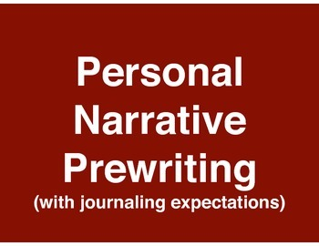 Personal Narrative - Memory Prewriting - Standards-Based Lessons
