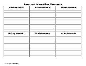 Personal Narrative Moments List