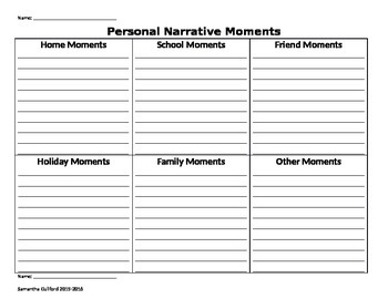Personal Narrative Moments List