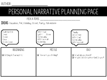Personal Narrative Organizer