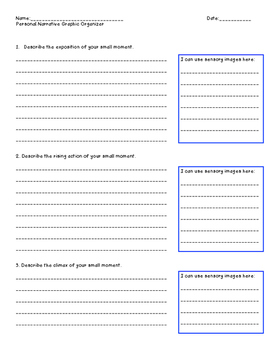 Personal Narrative Organizer (Small Moments & Sensory Images)