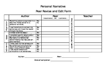 Personal Narrative Peer/Teacher Feedback