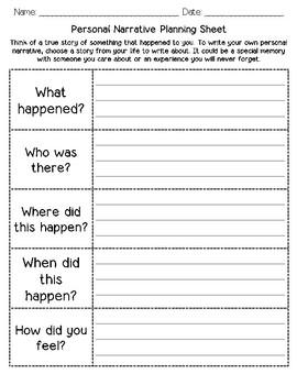 Personal Narrative Planning Sheet & Graphic Organizer