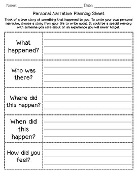 Personal Narrative Planning Sheet & Graphic Organizer