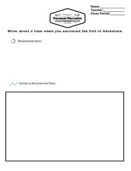 Personal Narrative Planning Sheet ~ Hero's Journey