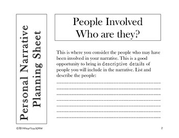 Personal Narrative Planning Sheets