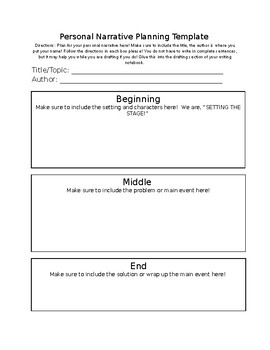 Personal Narrative Planning Template