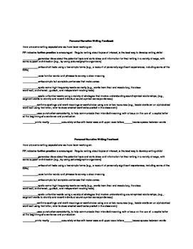 Personal Narrative Planning/Writing Organizer, Feedback and Final rubric