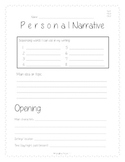 Personal Narrative Planning and Rough Draft template