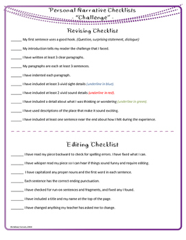 Personal Narrative  - Prewrites & Independent Revision Checklists