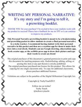 Personal Narrative Prewriting Booklet