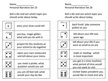 Personal Narrative Prompts--156 in All