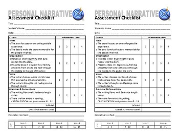 Personal Narrative Proofreading & Assessment Checklists