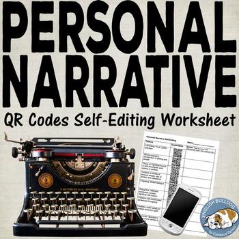 Personal Narrative QR Codes Self-Editing Worksheet