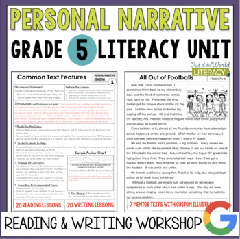 Personal Narrative Reading Amp Writing Unit Grade 5 40