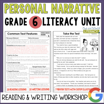 Personal Narrative Reading Writing Unit Grade 640 Lesson By