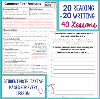 Personal Narrative Reading & Writing Unit: Grade 6...40 Lesson!!!