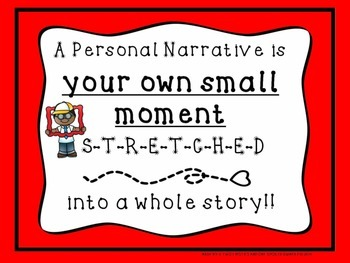 Personal Narrative Small Moment Unit: Lessons, Posters, Models, & Checklist