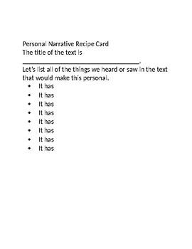 Personal Narrative Recipe Activities