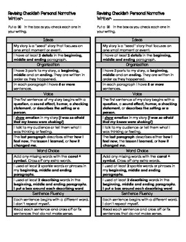 Personal Narrative Revise and Edit Writing Checklist (6 Traits)
