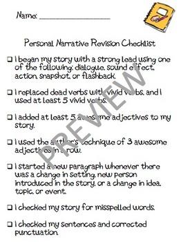 Personal Narrative Revision Checklist