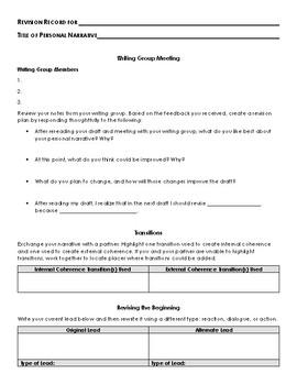 Personal Narrative Revision Process