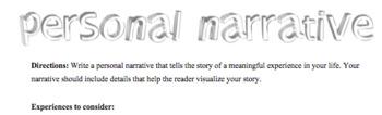 Personal Narrative Rubric