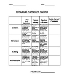 Personal Narrative Rubric, Checklist, and Proofreading Activity