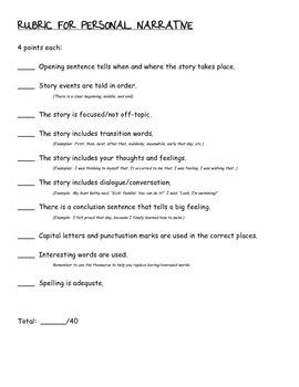Personal Narrative Rubric- Teacher/Student/Parent Friendly