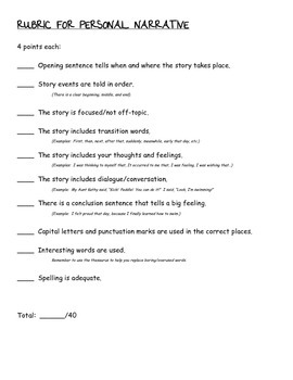 Personal Narrative Rubric- Teacher/Student/Parent Friendly