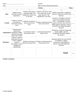 Personal Narrative Rubric used with Lucy Caulkin's Writing Program
