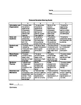 Personal Narrative Scoring Guide