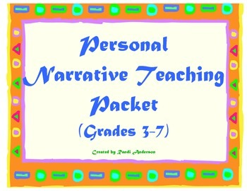Personal Narrative Teaching Packet