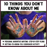 Personal Narrative Unit: Things You Don't Know About Me