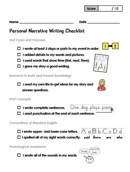 Personal Narrative Writing 1st Grade Checklist