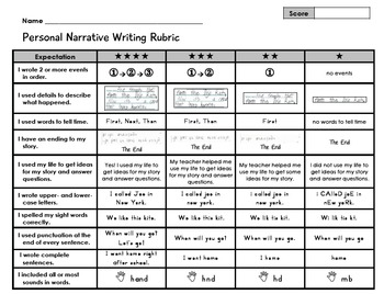 Personal Narrative Writing 1st Grade Student Rubric