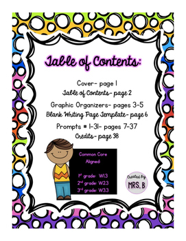 Personal Narrative Writing: 31 Prompts with Graphic Organizers