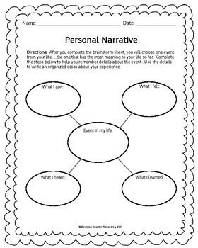 personal narrative template by devoted teacher tpt